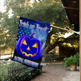 Halloween Autism Awareness Flag Blue Pumpkin Trick Or Treat Flag