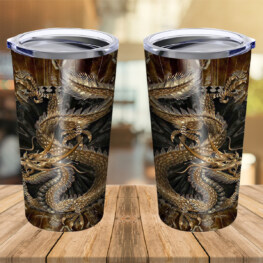 Dragon & Dungeon Tattoo Stainless Steel Tumbler Cup 20 oz | Travel Mug | Colorful | TC1309